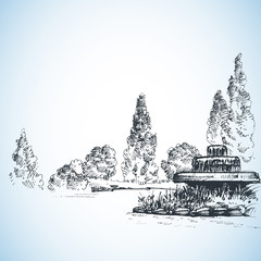 Garden artistic drawing, water fountain and poplars