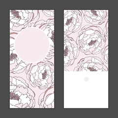 Vector peony flowers vertical round frame pattern invitation greeting cards set for wedding, marriage, bridal, birthday, Valentine's day. Romantic vector illustration.