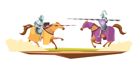 Medieval Knits Contest Cartoon Composition  Wall mural