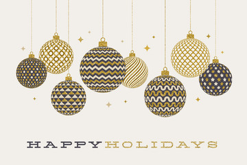 Christmas greeting card - patterned golden baubles on a white  background. Vector illustration.