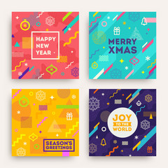 Vector set of abstract holidays background with multicolored geometric shapes christmas signs and symbols and frame with greeting.