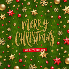 Christmas vector illustration - Glitter gold Holiday greeting and Christmas decoration on a knitting green background
