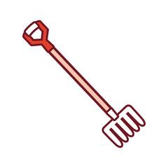 flat line  colored fork  over white background  vector  illustration