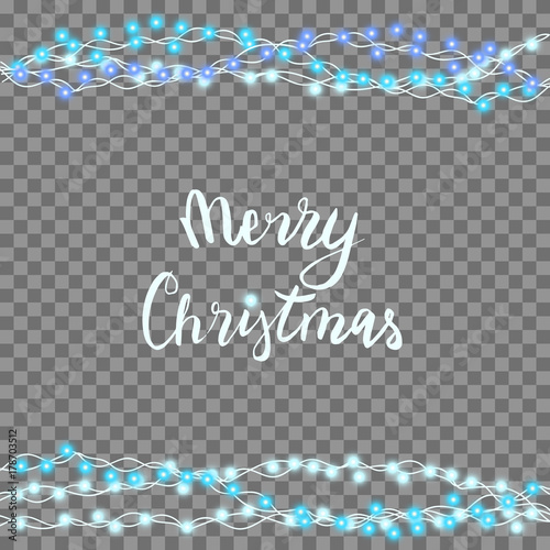 string blue garland and lettering isolated on background vector illustration of christmas new year