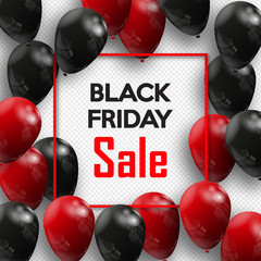 Black Friday. Banner for your design with balloons of the world day of sale. Vector illustration.