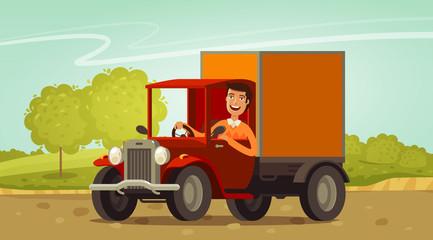 Happy driver rides in retro truck. Delivery, farming concept. Cartoon vector illustration