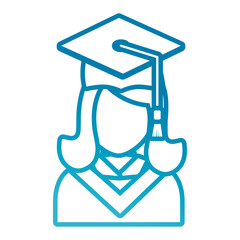 flat line  colored  woman graduating  over white background  vector illustration