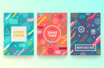 Vector set of abstract holidays background or banners with multicolored geometric shapes christmas signs and symbols and frame with greeting