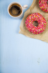 Donuts and a cup of coffee c