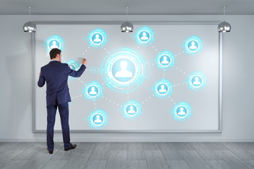 Businessman using social network interface on a board 3D rendering