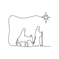 Mary and Joseph journeying through the dessert with a donkey vector illustration black outlines, isolated on white background
