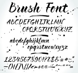 Brush lettering vector alphabet with numbers and punctuation. Modern calligraphy, handwritten letters. Vector illustration.