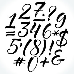 Brush lettering vector numbers and punctuation. Modern calligraphy, handwritten letters. Vector illustration.