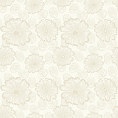 Seamless light background with beige flowers and spirals. Ideal for printing on fabric or paper. Vector illustration.
