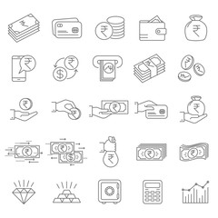 Indian rupee financial icons