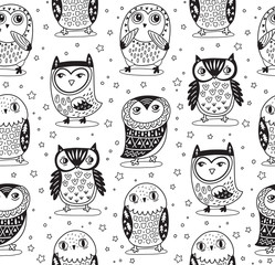 Vector seamless pattern with cartoon owls in outline. Coloring print