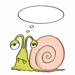 cute escargot and  sick and thinking