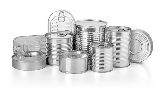metal cans isolated