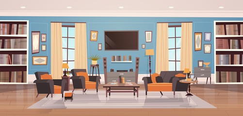 Cozy Living Room Interior Design With Modern Furniture, Windows, Sofa, Table Armchairs, Bookcase And Tv Flat Vector Illustration