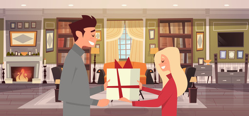 Man Giving Woman Present Box Over Living Room Background, Happy Couple Celebrate Holiday At Home Vector Illustration