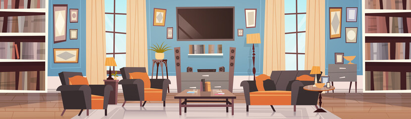 Cozy Living Room Interior Design With Modern Furniture, Windows, Sofa, Table Armchairs, Bookcase And Tv Horizontal Banner Flat Vector Illustration