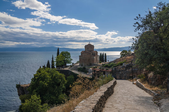 Orthodox Church of St John at Kaneo on a cliff overlooking Ohrid Lake