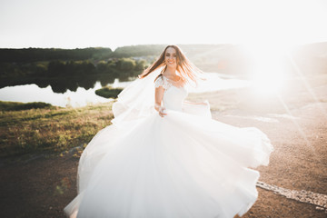 Beautiful bride posing in wedding dress outdoors