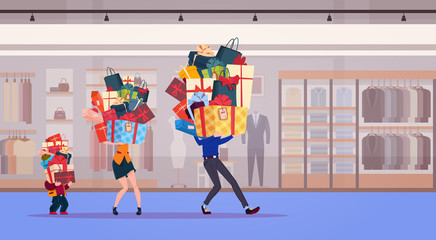 Family Carry Stack Of Presents Over Shop Background Holiday Gifts And Seasonal Sale Concept Flat Vector Illustration