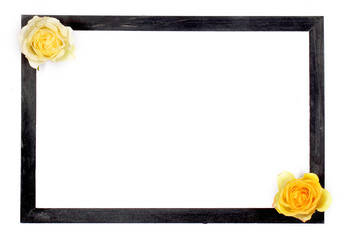 белый фон на нём рамка и роза