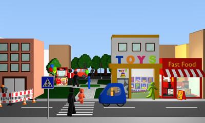 belebte Straße mit einem Fußgängerüberweg, Geschäften und Park mit Popcornmaschine.