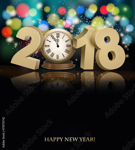 happy new year background with 2018 a clock and fireworks vector