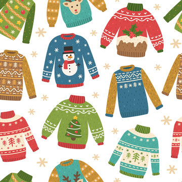 Cute seamless pattern with ugly Christmas sweaters. Vector repeating background. Funny traditional knitted clothes with different prints: deer, cake, snowman, Christmas tree