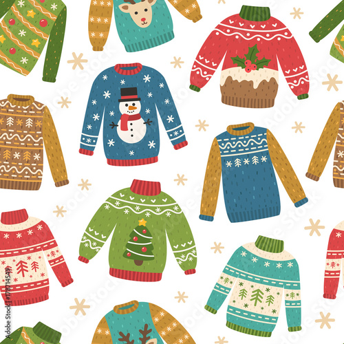 567fc6be3 Cute seamless pattern with ugly Christmas sweaters. Vector repeating  background. Funny traditional knitted clothes with different prints  deer