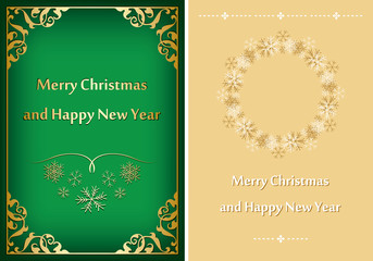 green and beige greeting cards for christmas - vector postcards