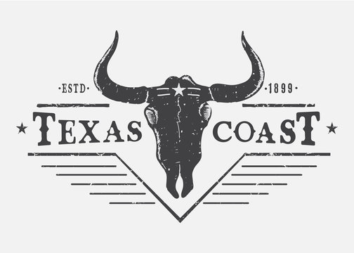 Western logo with bull skull.Typography print design for t-shirt or other wear