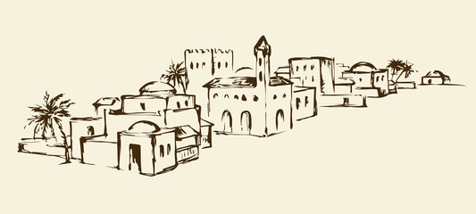 Old eastern city. Vector drawing