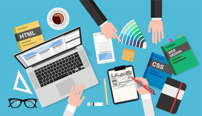 Web design meeting, top view of a desk with a computer, notepad, design books, smartphone, color palette, pens and pencils. Vector illustration in flat style, template for business