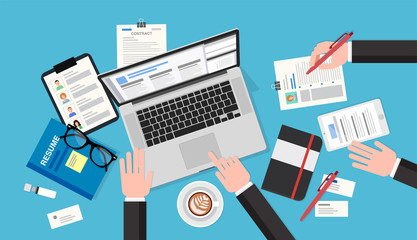 Human resources meeting, top view of a desk with a computer, notepad, resume, smartphone, pens and pencils. Vector illustration in flat style, template for business