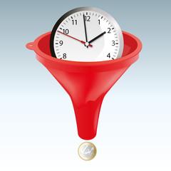 argent - temps - concept - entonnoir - entreprise -travail - timing - rapide - gagner de l'argent