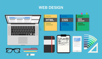 Web design, top view of a desk with a computer, notepad, design books, color palette, smartphone, pens and pencils. Vector illustration in flat style, template for business