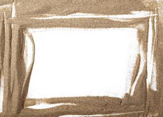 pile desert sand isolated on white background, frame texture