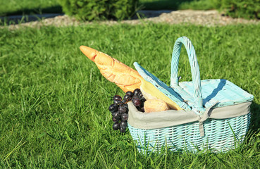 Aluminium Prints Picnic Wicker basket with picnic stuff on green grass