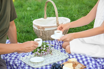 Aluminium Prints Picnic Couple in love drinking coffee on picnic
