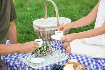 Autocollant pour porte Pique-nique Couple in love drinking coffee on picnic