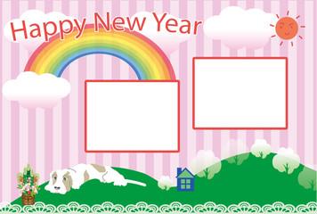 ポップな犬と虹の写真フレームの戌年の年賀状テンプレート