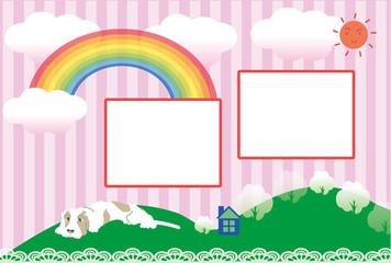 ポップな犬と虹の写真フレームの葉書テンプレート