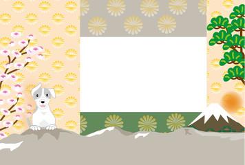 犬と松と桜と富士山の写真フレームの葉書テンプレート