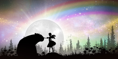 Protector of nature, fairy and bear silhouette art