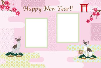 おしゃれな犬と梅の花の写真フレームの戌年の年賀状テンプレート