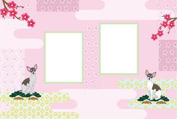 おしゃれな犬と梅の花の写真フレームの葉書テンプレート